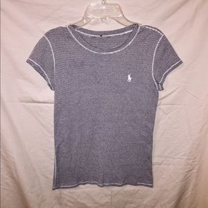 Grey & White Striped Ralph Lauren Shirt.